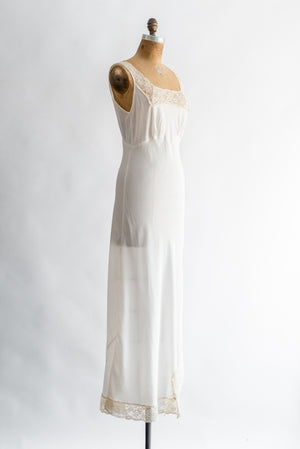 1930s Ivory Crepe Silk Gown - S