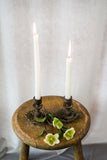 Antique Pair of Wood and Brass Candlestick
