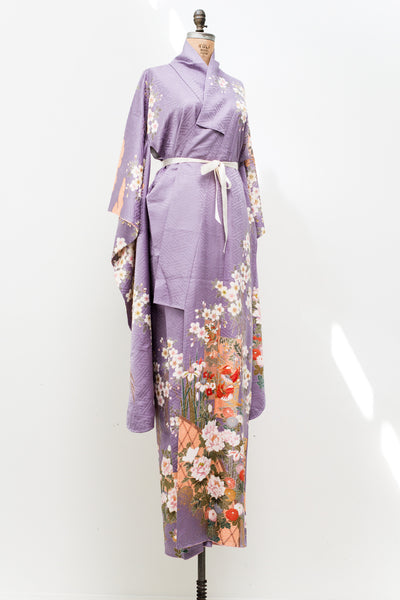 Vintage Lavender Kimono with Florals - One Size