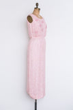 1960s Pink Silk Sequined Dress - S