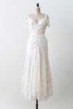 1980s Satin Lace V-Neck Gown - S/M