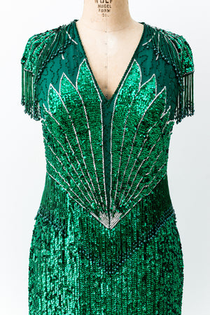 1980s Green Silk Beaded Gown - M/L