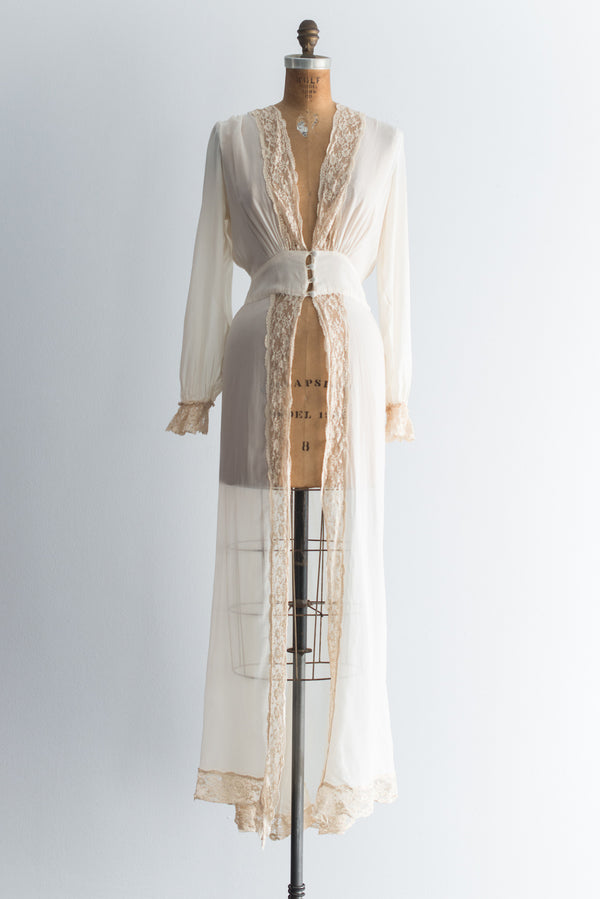 1930s Silk Chiffon and Lace Dressing Gown - S/M
