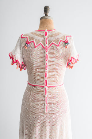1970s Inspired Crochet Dress - M