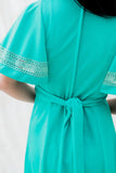 1970s Teal Poly Dress Flutter Sleeves Maxi Dress - S