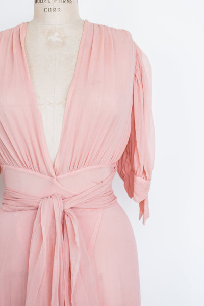 1930s Pink Silk Chiffon Wrap Gown - S