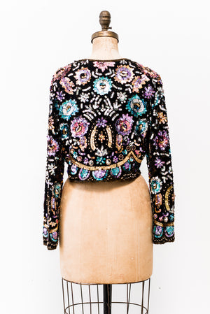 1980s Cropped Floral Beaded Jacket - S/M