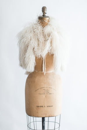 RESERVED 1930s Ostrich Feather Capelet - One Size