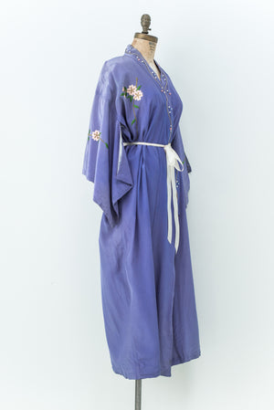 Vintage Periwinkle Floral Embroidered Kimono - One Size