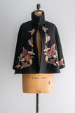Vintage Wool Capelet With Embroidery - One Size