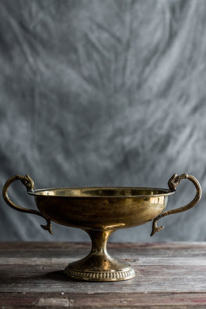 Vintage Large Oval Brass Compote
