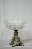 Antique Glass and Pewter Compote