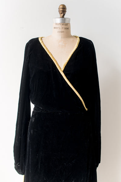 1940s Silk Velvet Hostess Gown/Robe - S/M