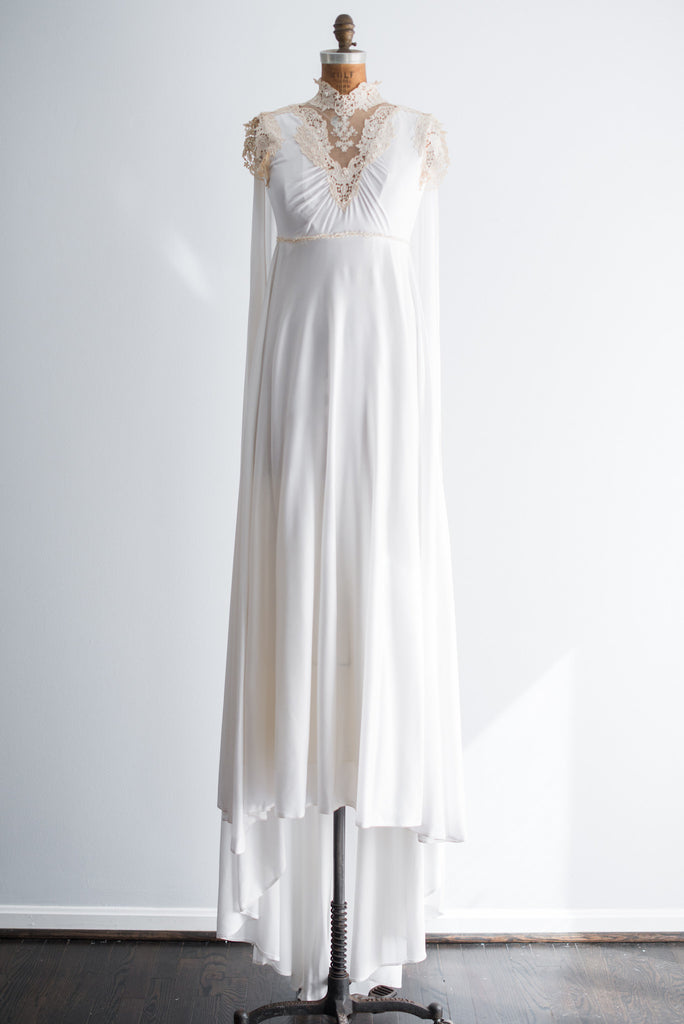 1960s Jersey Cape Back Wedding Gown - S | G O S S A M E R