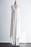 1960s Jersey Cape Back Wedding Gown - S