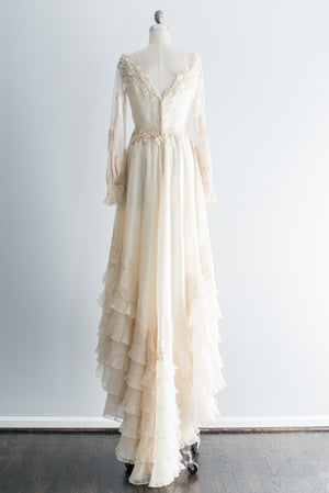 1970s Ivory Chiffon Lace Applique Gown - S/M