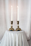 Antique Pair of Brass and Glass Candlestick Holders