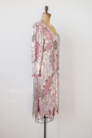 1980s Silk Beaded Pink Dress - M