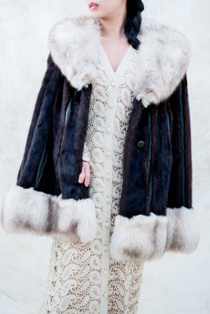 1950s Vintage Mink and Fox Fur Capelet Coat - One Size