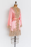 RARE 1920s Pink Silk and Lace Robe - XS