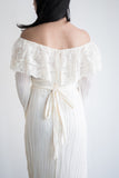 1970s Cotton Gauze Off-the-Shoulder Dress - S