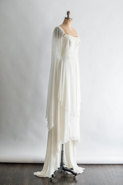 Vintage Pronovias Long Open Long Sleeves Chiffon Gown - S