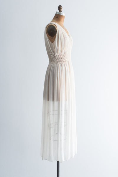 RESERVED 1930s Sheer Pleated Smocked Negligee - S