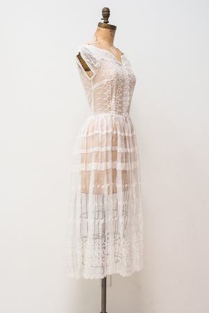 1950s Silk Organza Embroidered Dress - XS