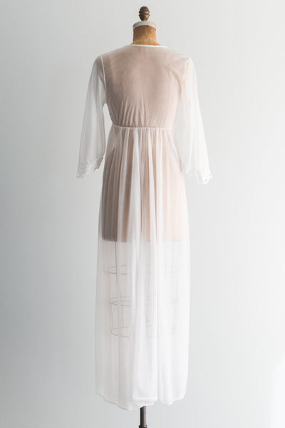 1950s Sheer Tricot Chiffon Dressing Gown - S