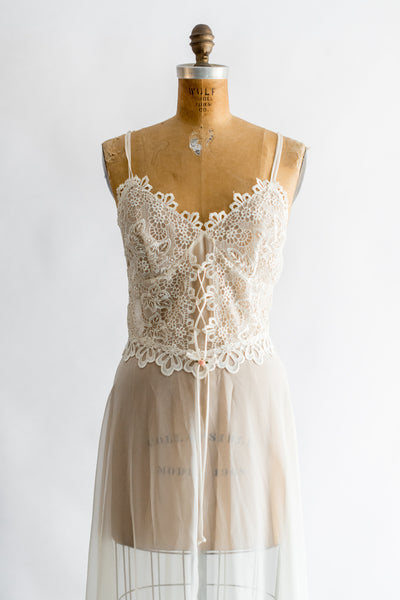 Vintage Embroidered Lace Chiffon Slip - S/M