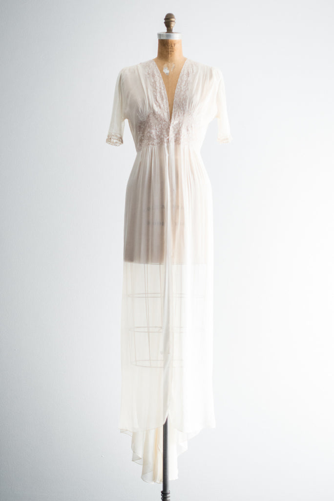 1930s Trained Silk Chiffon Dressing Gown - S/M ...