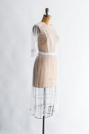 Edwardian Sheer Embroidered Dress - S