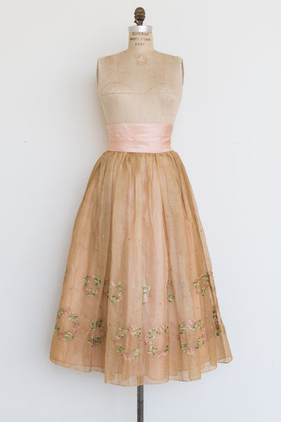 1950s Peach Silk Organza Embroidered Skirt - S