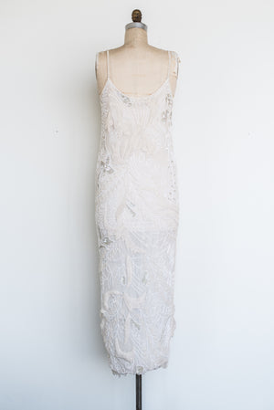 1980s Silk Chiffon Beaded Dress - S