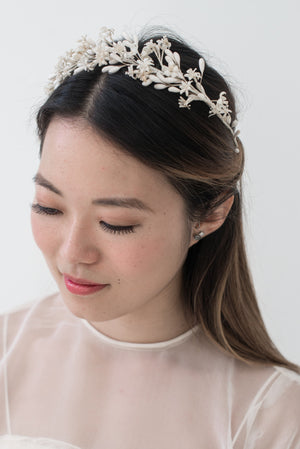 1920s Wax Tiara with Buds and Flowers - One Size