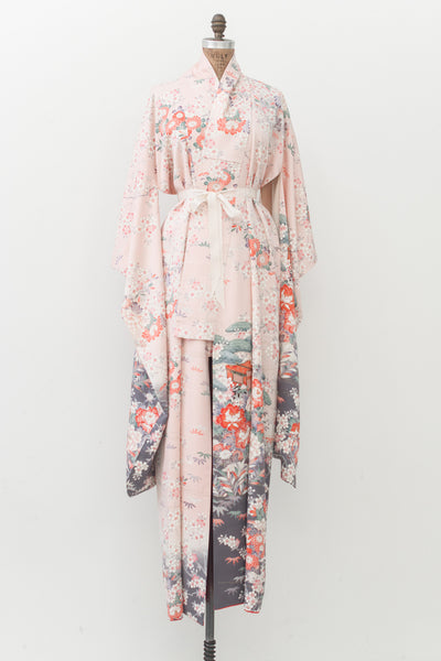 Vintage Pink Kimono with Florals - One Size