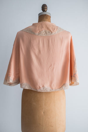 1930s Silk Pink Bed Jacket - S/M