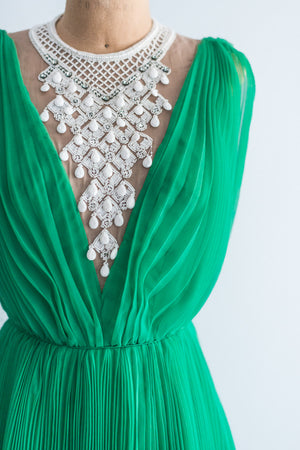 1960s Emerald Jack Bryan Necklace Chiffon Dress - S