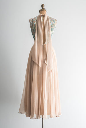 1960s Chiffon and Sequined Gown - XXS