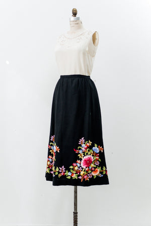 Vintage Cashmere Embroidered Skirt - S