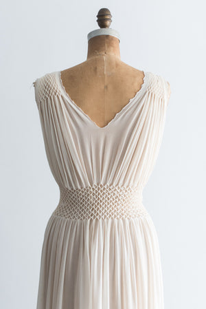 1930s Sheer Ivory Silk Pleated Negligee - S
