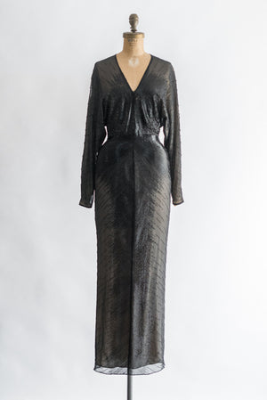 1980s Silk Chiffon Beaded Dolman Sleeve Gown - XS/S