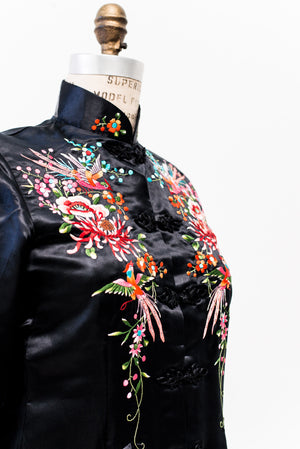 Black Vintage Silk Embroidered Jacket - S/M