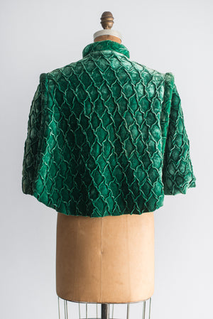 Antique Emerald Silk Velvet Capelet - One Size