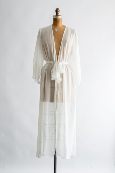 Vintage Chiffon Dressing Gown with Long Open Sleeves - One Size