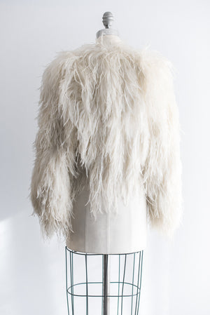 1950s Ivory Ostrich Feather Jacket - M