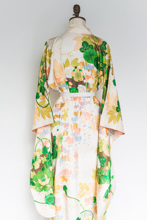 Vintage Silk Green and Ivory Floral Print Kimono - One Size
