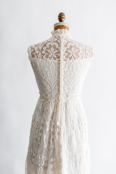 1970s Sleeveless Crochet Lace Dress - S
