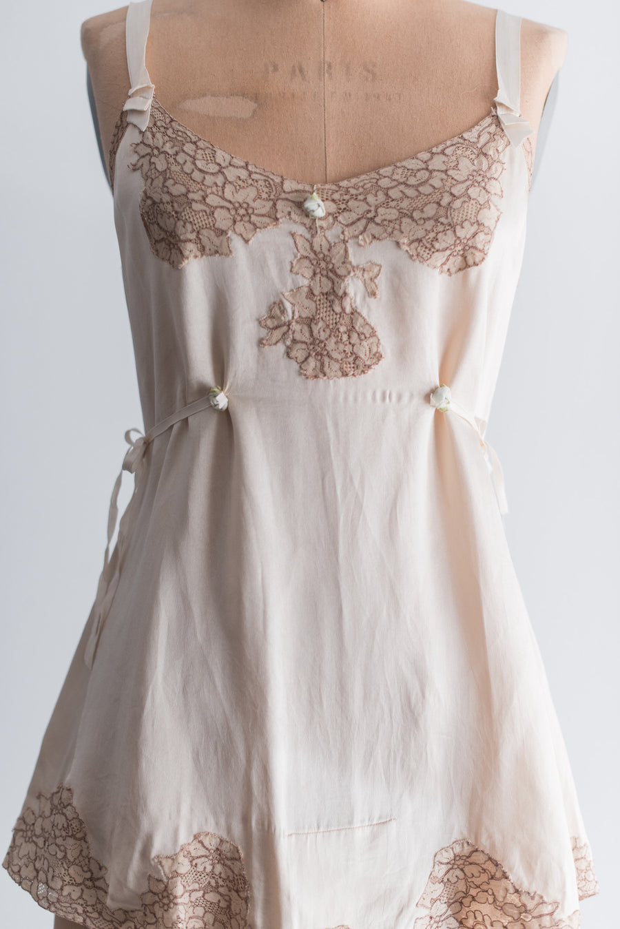 1920s Silk and Lace Romper - M