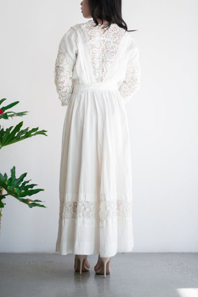 Edwardian Linen and Irish Lace Day Dress - S